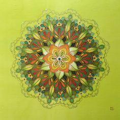"""Hedvábná mandala (malba na hedvábí) """"Duše Stromů"""" Mandala Hand painted on silk"""