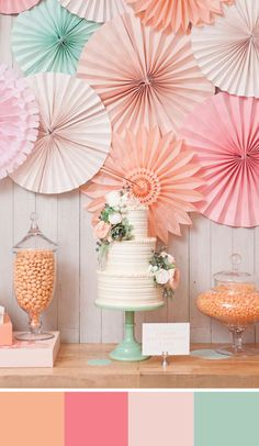 Pastel palette of peach, shades of pink and mint. Source: Elizabeth Anne Designs. #peach #colorpalette