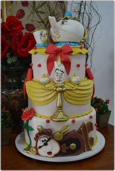 Beauty and the Beast Celebration Cake Pretty Cakes, Cute Cakes, Beautiful Cakes, Amazing Cakes, Character Cakes, Disney Cakes, Disney Disney, Fancy Cakes, Love Cake