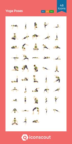 Yoga Poses  Icon Pack - 48 Flat Icons Flat Icons, Png Icons, Icon Pack, Icon Font, Flat Design, Yoga Poses, Gym Workouts, Fonts, Sport