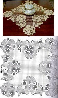 Charming napkin with roses - Modèles de crochet Crochet Butterfly Pattern, Crochet Flower Tutorial, Crochet Doily Patterns, Crochet Motif, Crochet Designs, Crochet Doilies, Crochet Flowers, Free Crochet, Cross Stitch Embroidery