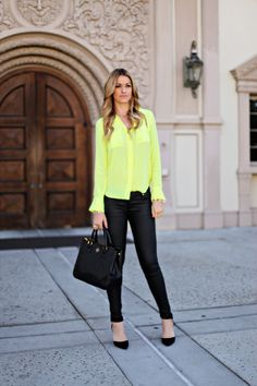Neon Yellow and Black Faux Leather Pants    From alittledashofdarling.com
