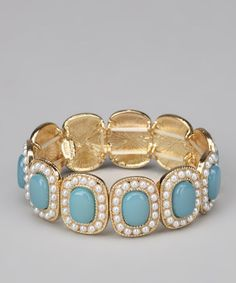 Take a look at this Turquoise & Gold Beaded Stretch Bracelet by Marlyn Schiff on #zulily today!