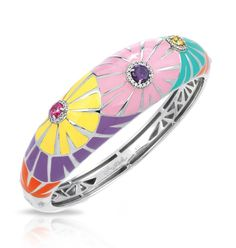 Dandelion Collection; Multi Color Pastel Bangle Bracelet; Large, fanciful flowers of hand-painted enamels and dazzling stones rest on a bed of rhodium-plated sterling silver. Delight in  Dandelion and see where the wind takes you.