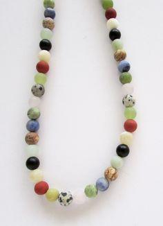 Gemstone Beaded Necklace, Multicolor Stone Beaded Natural Earthy Joyful Jewelry