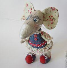 Купить Уики-Вэки-Воки-мышка - серый, красный, мышка, мышка игрушка, лён натуральный