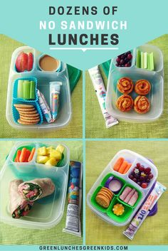 Dozens of NO sandwich lunches from Green Lunches, Green Kids | Lunch ideas for kids who don't like sandwiches | Non Sandwich Lunch Ideas