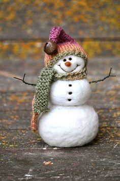 Needle Felted Snowman Wool Snowmen Christmas by BearCreekDesign