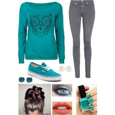 Gray & Turquoise Lazy Outfit