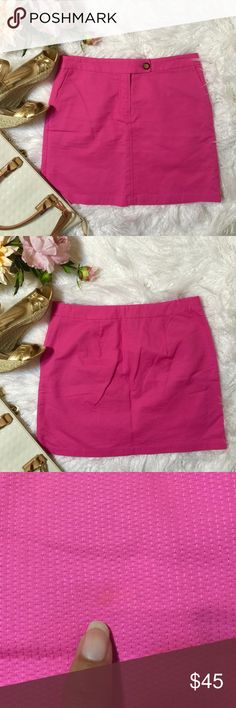 """Anthropologie's """"Vanessa Virginia Pink Mid Skirt Anthoropologie's Vanessa Virginia Pinkstitch Skirt. Pink mini skirt with a zipper, inner button and outer button closure. Side pockets with hawaiian trim around thr interior edges. 100% cotton. (Has a little spot but unnoticeable- show on 3rd photo) Flat across @ waist: 16"""", lenght: 17"""". NWOT Anthropologie Skirts Mini"""