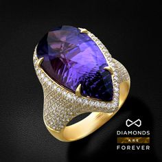 Diamonds, Amethyst and 18K yellow Gold ring by Diamonds are Forever.