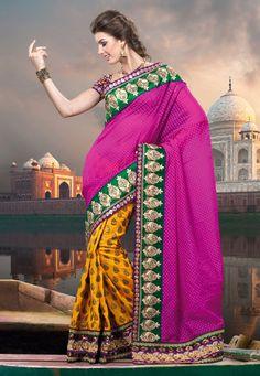 #Yellow Tissue and Art #Silk #Saree