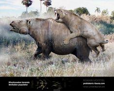 Mixotoxodon larensis and Smilodon populator Prehistoric Creatures, Fauna, South America, Mammals, Fossil, Extinct, Lion Sculpture, Horses, Fantasy