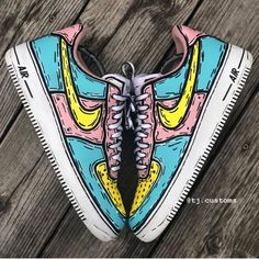 Cartoon Air Pressure Price these! Cop or Drop? Custom Painted Shoes, Custom Shoes, Custom Af1, Basket Style, Nike Shoes Air Force, Aesthetic Shoes, Hype Shoes, Shoe Art, Shoe Shoe