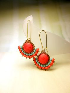 Coral Turquoise Seed Beads Dangle Brass Hook by dharajewelry
