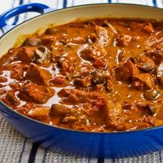 Pork with Paprika, Mushrooms, and Sour Cream; so good and #DeliciouslyHealthyLowCarb! [from KalynsKitchen.com]