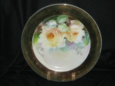 Rose dinner plate with gold rim by judie2hips@aol.com