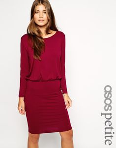 Image 1 of ASOS PETITE Exclusive Body-Conscious Dress With Longsleeves And Drape Top