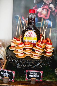 Log Cabin pancake kabobs from a Lumberjack Birthday Party on Kara's Party Ideas | KarasPartyIdeas.com (5)