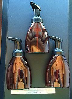 3 Empty Amber Bottles With Black Pump 250ml Foaming Hand Soap Dispenser Foam DIY $12.50 for 3. 8oz bottles