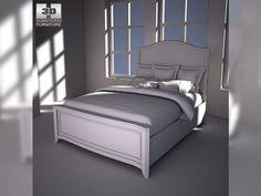 3D Model Ashley Ashlyn Queen Sleigh Bed c4d, obj, 3ds, fbx