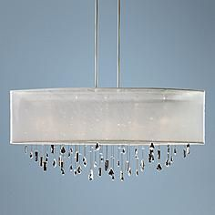 """Lifestyles Crystal and White 45"""" Wide Pendant Chandelier"""