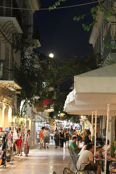 Lively Nafplio, Greece at night