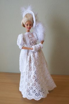 Barbie crochet dress 2 can you please share this with me please Crochet Doll Dress, Crochet Barbie Clothes, Knitted Dolls, Barbie Wedding Dress, Barbie Dress, Barbie Doll, Doll Dresses, Barbie Style, Barbie Clothes Patterns