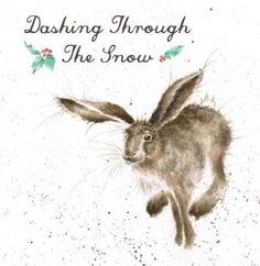 Dashing Through The Snow Wrendale Christmas card - £2.75