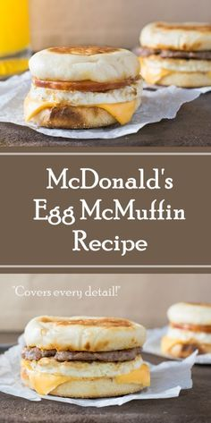 McDonald's Egg McMuffin recipe can easily be replicated in your own home, and can just as easily be used to make the Sausage McMuffin with Egg too! Breakfast Sandwich Recipes, Breakfast Dishes, Best Breakfast, Breakfast Burritos, Mcdonalds Breakfast Sausage Recipe, Egg Mcmuffin Recipe, Sausage And Egg Mcmuffin, Egg Recipes, Brunch Recipes