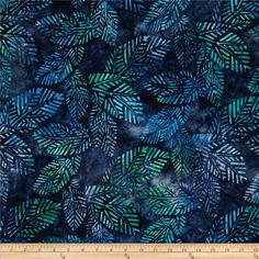 Artisan Batiks Spring Mod 2 Fern Leaves Blueberry from @fabricdotcom  Designed by Lunn Studios for Robert Kaufman, this Indonesian batik is perfect for quilting, apparel and home décor accents. Colors include shades of blue and shades of green.