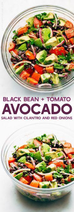 Tomato Recipes Black Bean Tomato Avocado Salad - A simple avocado salad that tastes just like guacamole! - A super simple black bean tomato avocado salad that is LOADED with flavor! Big bonus: this salad tastes like guacamole! Avocado Tomato Salad, Avocado Salad Recipes, Guacamole Salad, Avocado Dessert, Guacamole Recipe Lemon Juice, Simple Avocado Recipes, Avacodo Salad, Crab Salad, Healthy Recipes