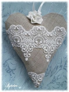 Astréor Créations Plus Scented Sachets, Fabric Hearts, Lace Heart, Burlap Crafts, Heart Crafts, Creation Couture, Heart Ornament, Heart Decorations, Vintage Heart