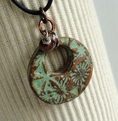 Ceramic Pendant in Rustic Sage Funky Flower Star by Artgirl56,