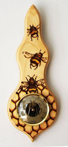 Pyrography: Bumblebee Barometer by BumbleBeeFairy.deviantart.com on @deviantART
