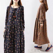 Mori Kız Sonbahar Elbise Vintage Çiçekli Baskı o-boyun Vestidos Zarif Iş Elbisesi büyük boy Kadın Pamuk Elbiseler Mori Kız Elbise(China (Mainland))