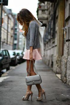 Gresy Daniilidis is wearing a blush pink Camille skirt