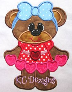 Bearly Love Hearts Machine Embroidery Applique Design by KCDezigns, $3.50