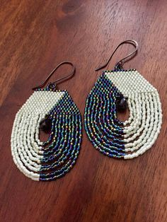 beaded fringe earringsseedbead hoop earrings spinel earrings
