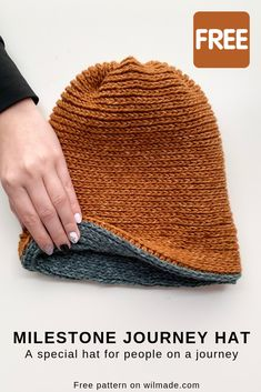 Easy Crochet Patterns Free crochet pattern - The Milestone Journey Hat is specially designed for those on a journey. The crochet hat can be personalized with beads which represent a milestone. Bonnet Crochet, Crochet Cap, Crochet Beanie, Crochet Gifts, Crochet Stitches, Free Crochet, Knitted Hats, Easy Knit Hat, Crochet Patterns For Beginners