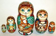Russian Wooden Nesting Dolls Cats Matryoshka Matreshka Stocking 5 Pcs | eBay