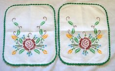 Vintage Embroidered Doilies, Rectangular Doily, Doily with Crochet, Doily Pair, Table Scarf, Arm Chair Doilies, Table Linens by VintagePlusCrafts on Etsy