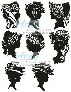 Mini Lady Silhouettes cross stitch pattern.
