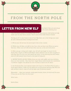 INTRO LETTER FROM NEW ELF ON THE SHELF