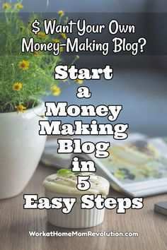 Start a Money-Making Blog in 5 Easy Steps! So you're wondering if it's actually possible to earn extra money or even make a full-time income from a blog. This guide will walk you step-by-step through the process of starting your own profitable blog. In 5 easy steps, you will be on your way to creating a blogging income and possibly becoming the next six-figure blogger! Blogging from home is an excellent work at home opportunity. With work and perseverance, you can earn a living as a blogger!
