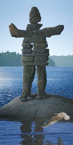 "Cover for a book, ""Chucky The Lonely Inukshuk"" by judith Mcmurray Land Art, Stone Balancing, Monuments, Stone Cairns, Rock Sculpture, Rock And Pebbles, Driftwood Art, Fish Art, Pebble Art"