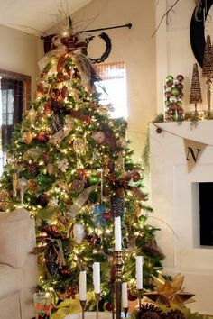 Beautiful Christmas decor in bronze, gold and green.
