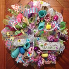 Pastel Easter Deco Mesh Wreath. #Easter #Wreath #deco mesh