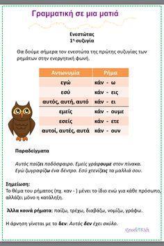 Ρήματα σε -ω Greek Language, Second Language, Greek Phrases, Learn Greek, Kids Corner, Lessons For Kids, Grammar, Education, Learning