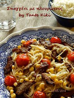 Tante Kiki: Σπαγγέτι με πλευρώτους και ντοματίνια...λίγες θερμ...
